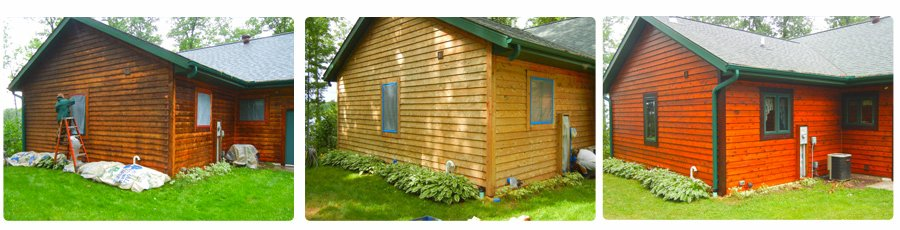 Log home staining staining wood in all northern wisconsin for How to stain log cabin